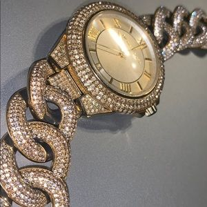 Gold Cuban link iced out MK watch